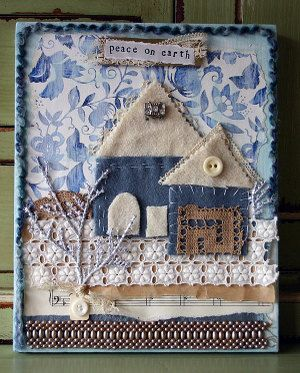 fabric house with denim scraps and other bits and bobs from the sewing box