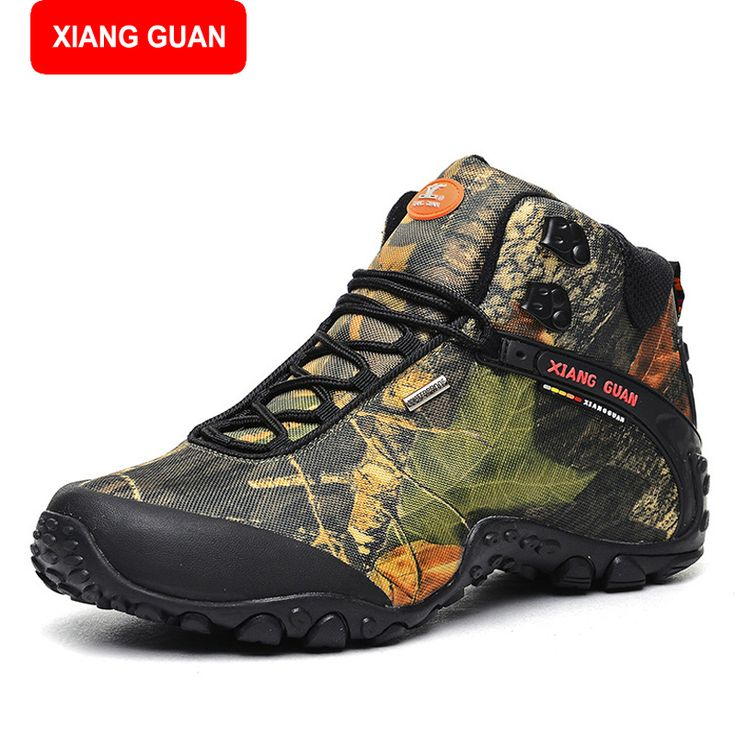 XIANG GUAN Waterproof canvas hiking shoes boots Anti-skid Wear resistant breathable fishing shoes climbing high shoes 82289