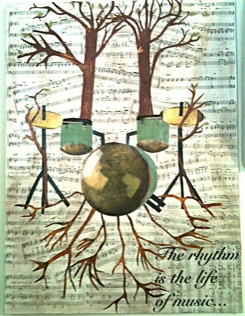 "Drum set growing tree collage; ""The rhythm is the life of music...""  Our online shop is at www.musicasartbysarah.etsy.com"