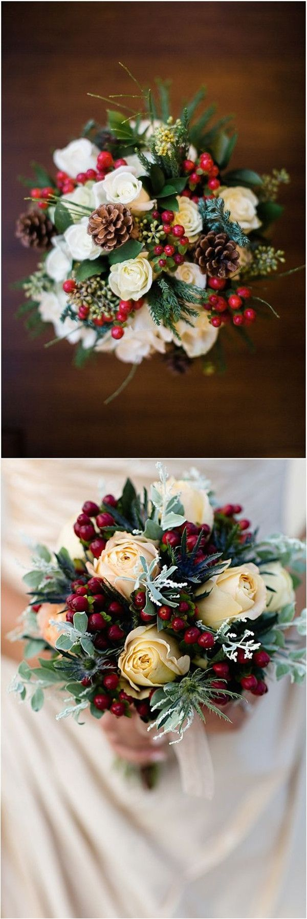 Berries and Pinecone Christmas Wedding Bouquet