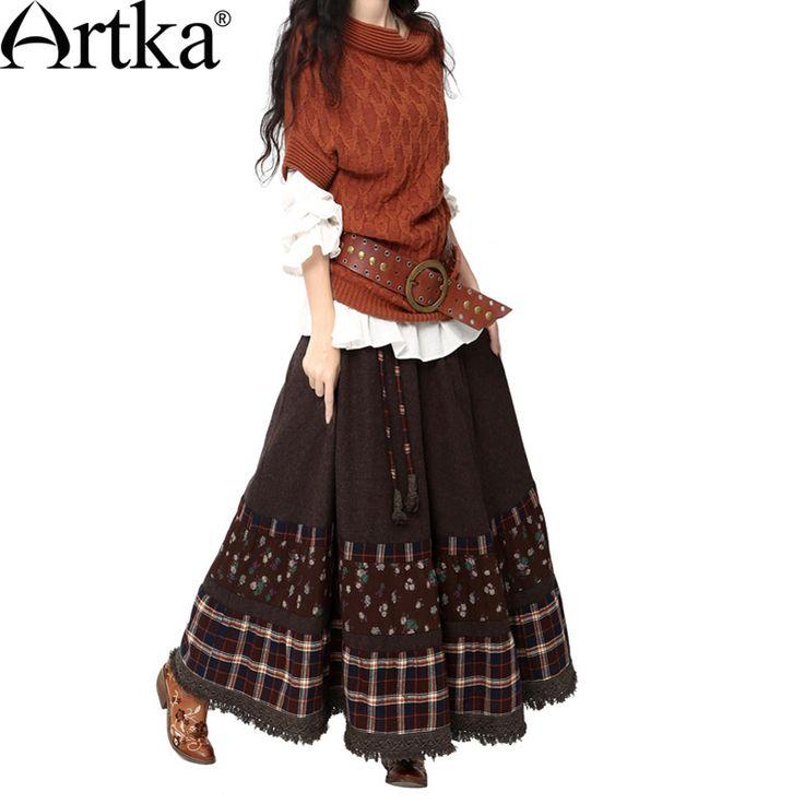 Artka Women's Autumn Retro Vintage Floral Print Plaid Patchwork Cinched Waist Maxi Swing Hem Skin-Friendly Woolen Skirt QA10142Q