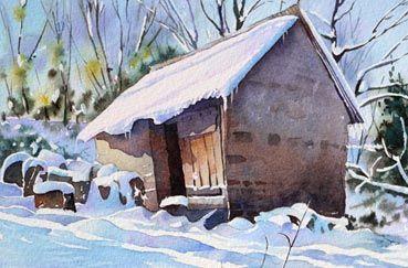 neige-et-masure-pas-a-pas-a-laquarelle                              …