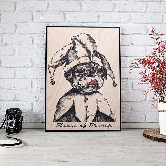 French Bulldog Poster on Wood Black and White UV Print Wood