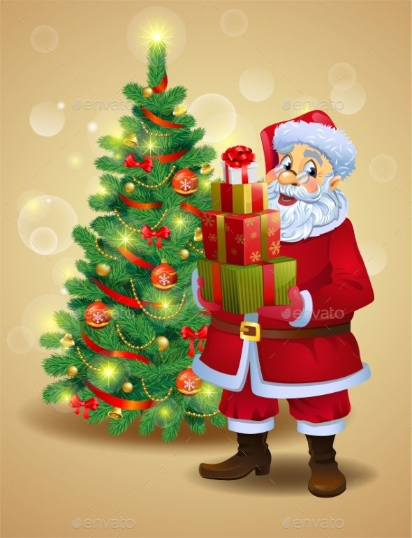 Santa Claus With Gifts Santa Claus Vector Santa Claus Santa
