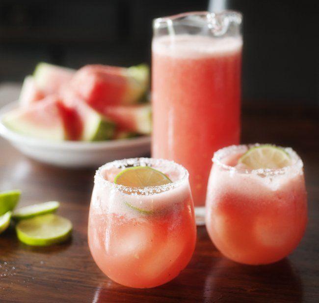 "<p>Few things are more refreshing than watermelon or more fun than margaritas!<a title=""Watermelon Margarita"" href=""http://prettyplainjanes.com/2013/05/24/watermelon-margarita/"" target=""_blank"">Get the recipe here</a>.</p>"