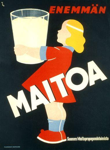 Enemmän maitoa! from a Finnish poster museum