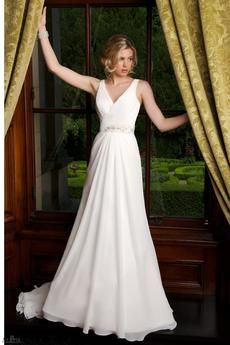 Chiffon Bridal gown with V-neckline and beaded waist band.