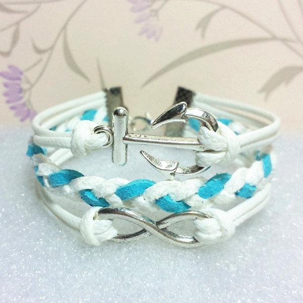 Anchor-Love-Armband, Infinity-Armband, weiße Wachskordeln und weiß mit blauem …