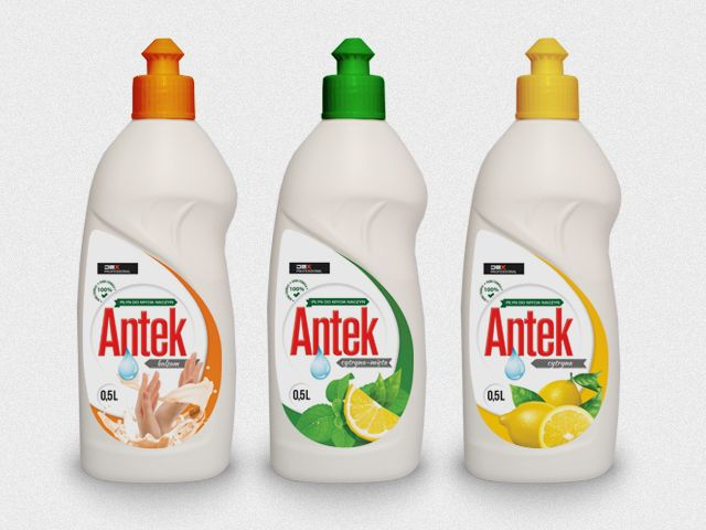 Komplet etykiet na płyny do mycia naczyń ANTEK
