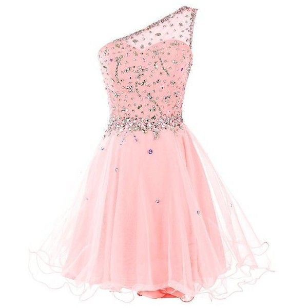 Dresstells Women's Short One Shoulder Prom Dress Evening Dress... ($80) ❤ liked on Polyvore featuring dresses