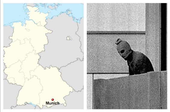 "I am going to tell you about what happened in the Munich Massacre during the Summer Olympics in 1972. The Munich Massacre was when a Palestine group called ""Black September"" kept hostage and eventually killed 11 people from the Israeli Olympic Team. You must be asking ""What is this picture?"" The first is where the the Munich Massacre took place in Munich, West Germany, and the second picture has one of the kidnappers from the event. This is an event we should never forget and always…"