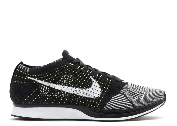 Nike Flyknit Racer Black White Volt Mens Running Shoes Sneakers 526628-011