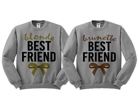 Meilleur amis pull ras de cou gris BFF arcs Blonde