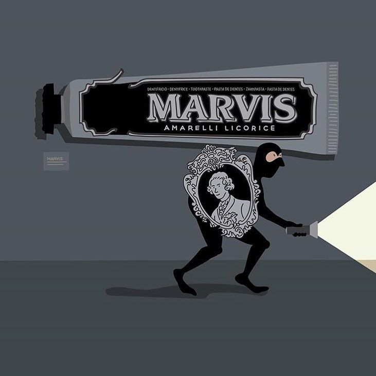 #Repost @marvis_is with @get_repost ・・・ MarvIS a Masterpiece Too good to resist! . . #marvistoothpaste #marvisofficial #francescogiordano #operedarte #capolavori #furti #rapine #masterpiece #thief #falso #patrimonio #amarellilicorice #marvis #diabolik #marquis #blackandwhite #museum #artwork #cornici #illustration #picoftheday #rosinaperfumery 🖤