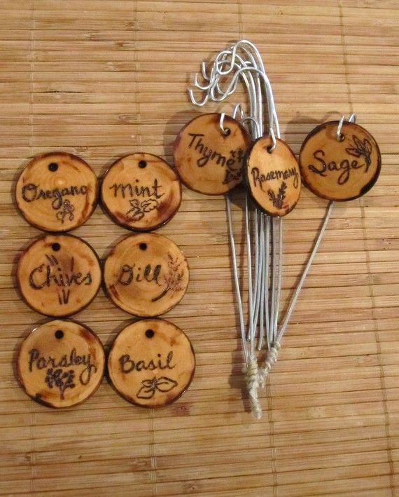 Desigrans Interior Elements: Herb marker Garden marker Wood burned Rustic Set of by JulietMade