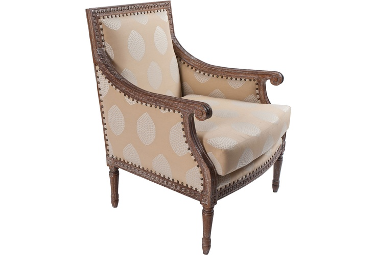 Classical, elegant club #chair upholstered in beige Pierre Frey linen.
