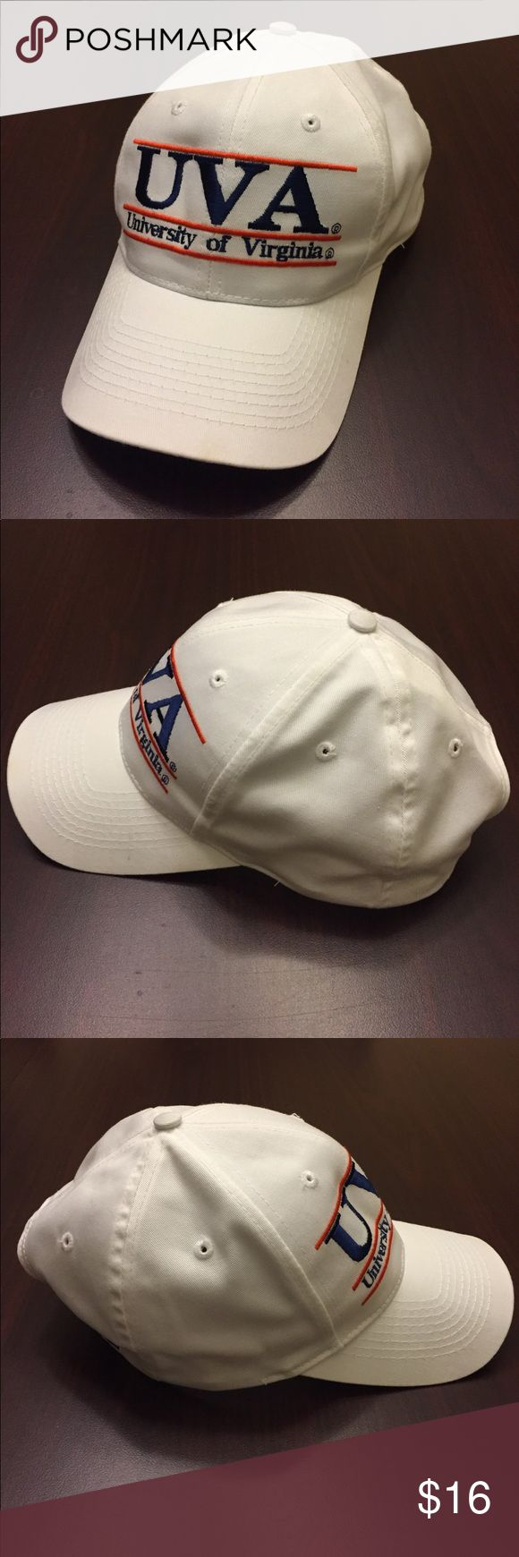 """Vintage UVA The Game by Russell Athletic SnapBack Very good condition, gently worn, white with UVA University of Virginia stitched across the front and """"The Game"""" logo stitched on back left side, one size with a snapback, made of 100% cotton material, Awesome vintage early 90's style SnapBack! Bundle for an Extra Discount! The Game by Russell Athletic Accessories Hats"""