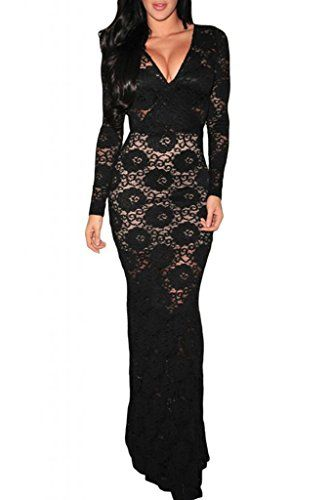 Dear-Lover Women's Lace Long-sleeve Evening Dress One Size Black Dear-Lover