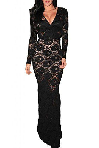 Dear-Lover Women's Lace Long-sleeve Evening Dress One Size Black Dear-Lover