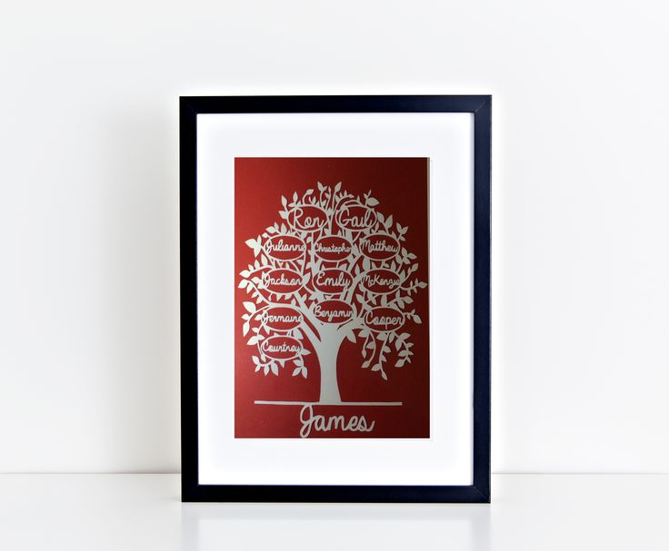 This personalised family tree has three generations on it - parents, children and grandchildren! I can fit up to 14 names on one tree and they can be whatever names you desire -even the family dog can make an appearance! Made to order from www.mypaperpomegranate.etsy.com