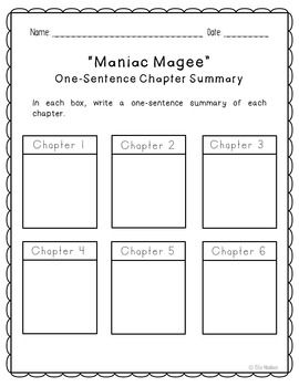 Maniac Magee Novel Unit Study Activities, Book Report, Vocbulary