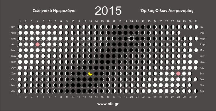 Lunar Calendar – From the Greek Club of Astronomy Aficionados.  Σεληνιακό Ημερολόγιο – Όμιλος Φίλων Αστρονομίας