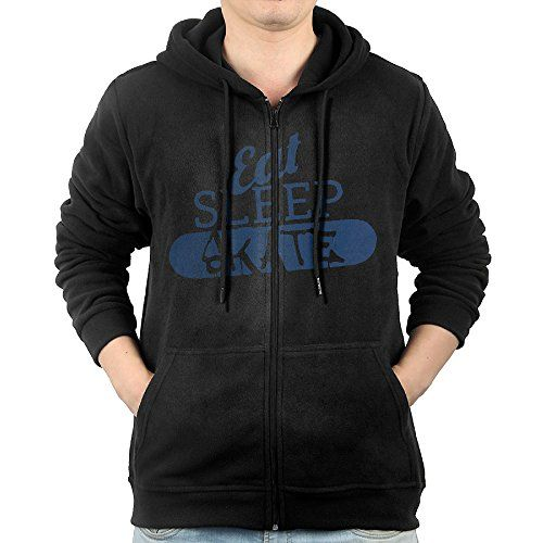 Sipopdplo Men's Full Zip EAT SLEEP SKATE Extreme Sport Hoodie With Pouch Pocket