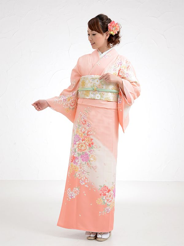 Coral houmongi with peony and rose motifs