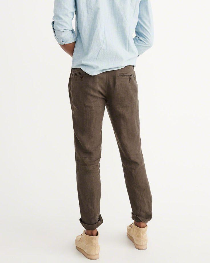 A&F Men's Linen Pants in Brown - Size 30 X 32
