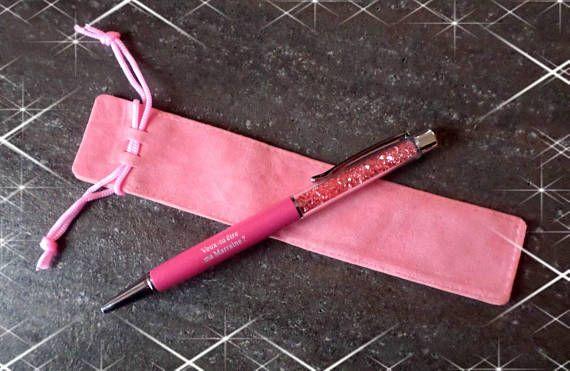 STYLO CRAYON CADEAU gravé marraine rose paillette gravure