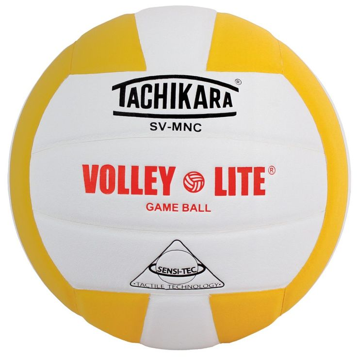 Tachikara SV-MNC Volley-Lite volleyball with Sensi-Tech cover, regulation size but lighter (gold/white)