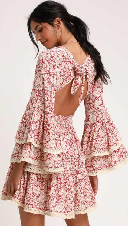 c92a3e40bc8 Free People Kristall Berry Red Floral Print Bell Sleeve Mini Dress  (sponsored)