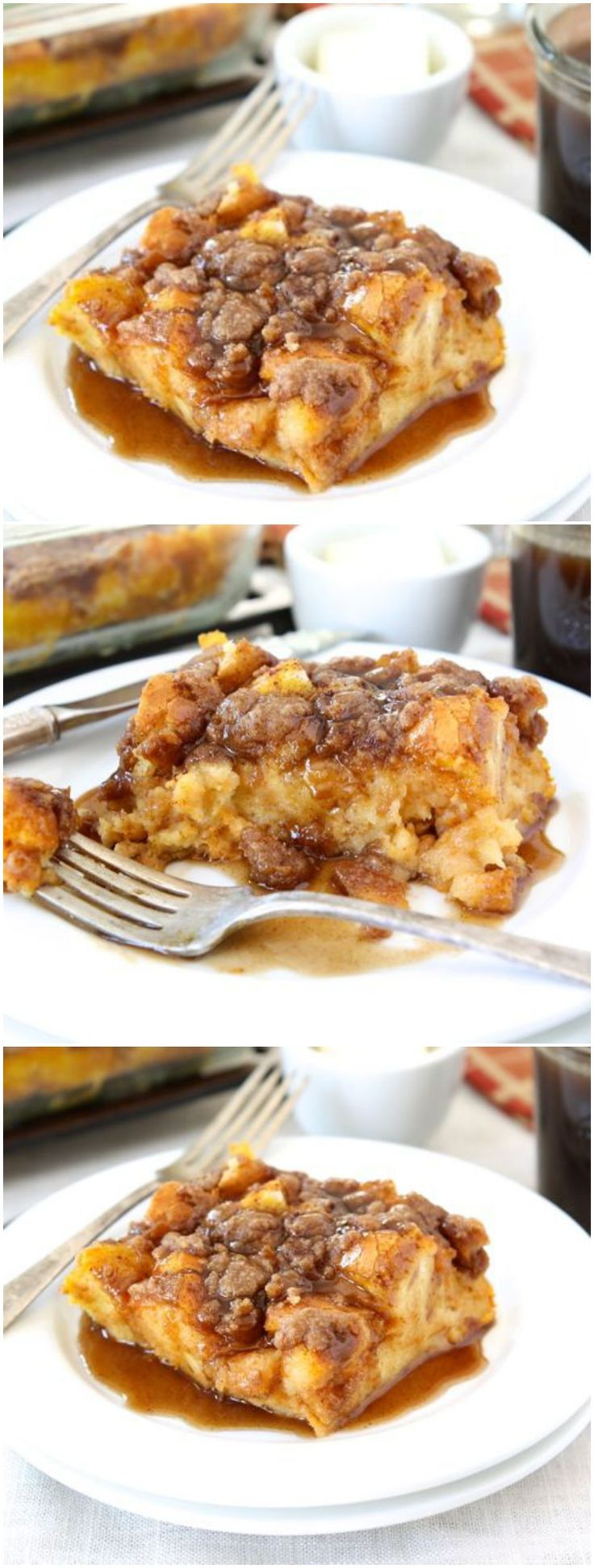 Baked Pumpkin French Toast Recipe on twopeasandtheirpod.com Love this decadent pumpkin French toast! You can make it the night before too! It's great for the holidays! #pumpkin