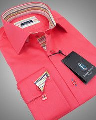 Italian shirt for men salmon | Milano salmon with contracting collar lining