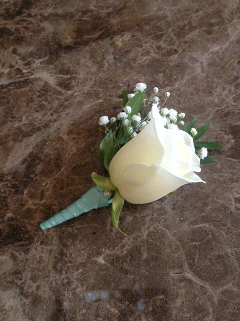 Tiffany Blue wedding Boutonniere by flowershackblooms.com
