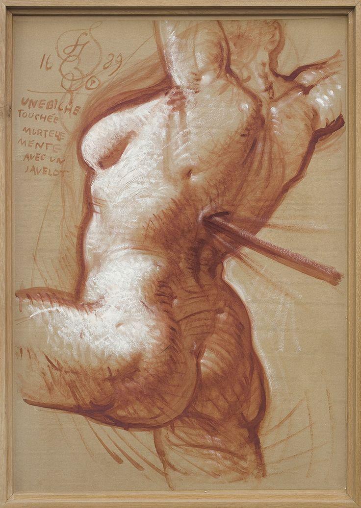 Franciszek Starowieyski | <i>ŁANIA ŚMIERTELNIE TRAFIONA OSZCZEPEM, 1989</i> | gwasz, akryl, papier naklejony na płótno | 99 x 69 cm