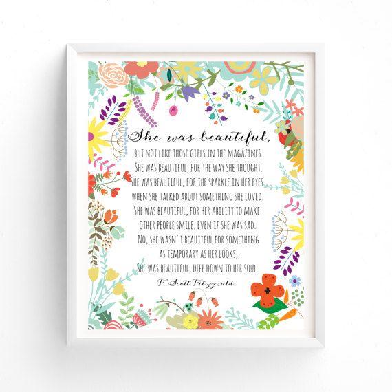 She was beautiful F Scott Fitzgerald Quote Printable Art