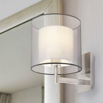 Applique en métal finition nickel avec abat jour cylindre en tissu diamètre 22cm Saba Faro port offert vente privée