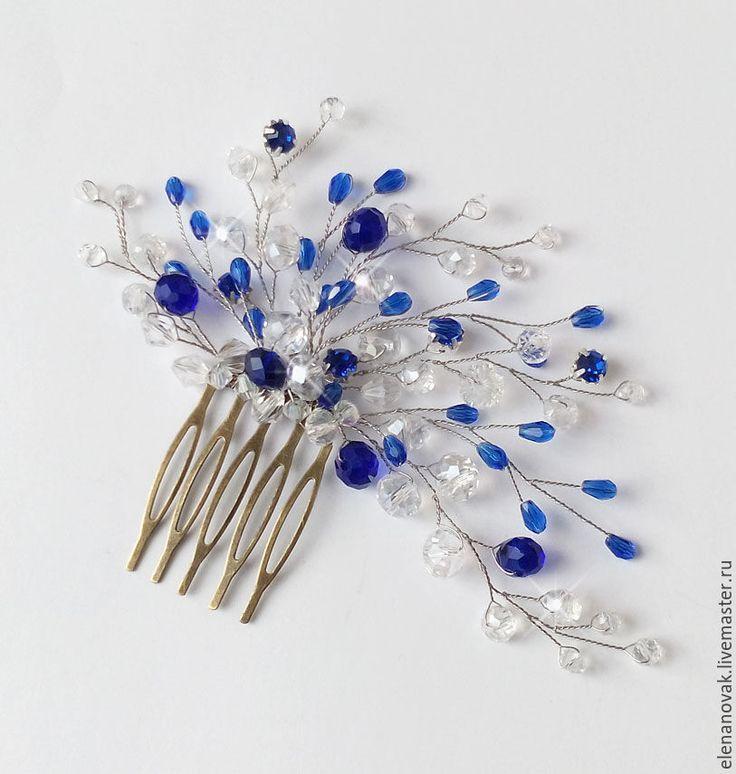 Купить Свадебный гребень синий - синий, синее украшение, гребень для волос, гребень, гребень для прически