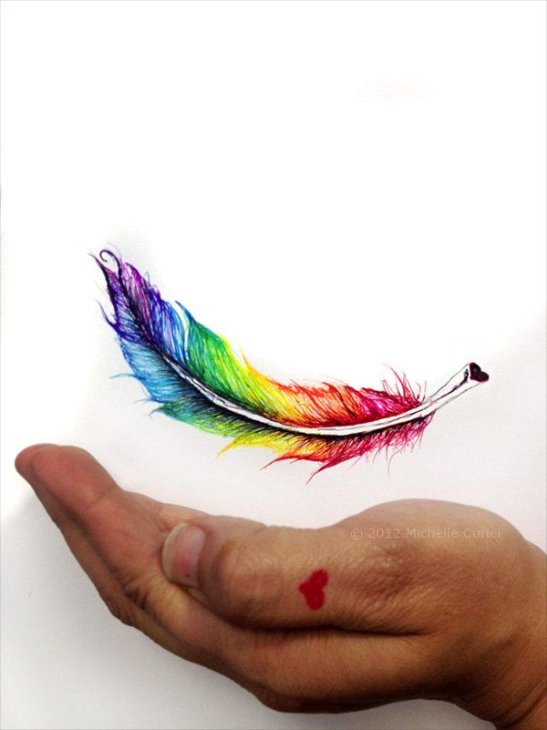 Rainbow feather - want as a tattoo.