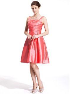 A-Line/Princess Square Neckline Knee-Length Taffeta Bridesmaid Dress With Ruffle (007025363) - JJsHouse