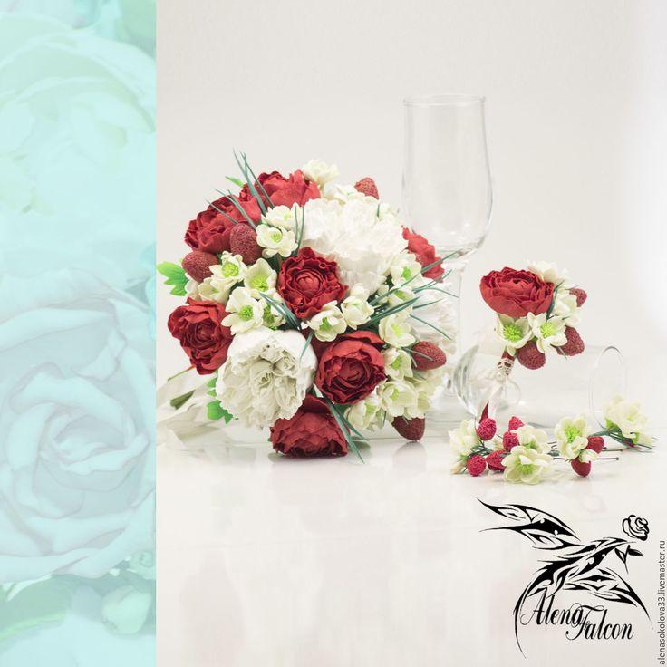 """Купить Свадебные украшения букет, шпильки и бутоньерка """"Красное и белое"""" - свадьба, свадебные аксессуары"""