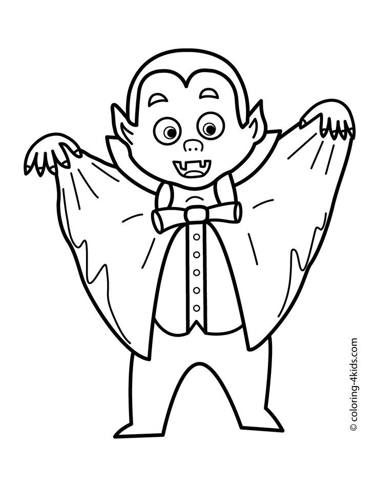 Halloween Vampire Coloring Pages For Kids Printable Free