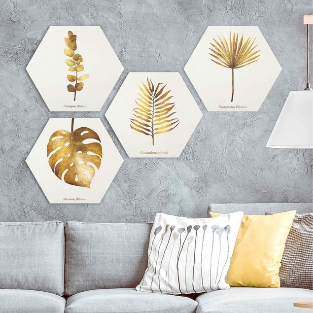 Hexagon Bild Forex 4 Teilig Gold Tropische Blatter Set Ii In 2020 Bilder Goldene Blatter Wandgestaltung Ideen