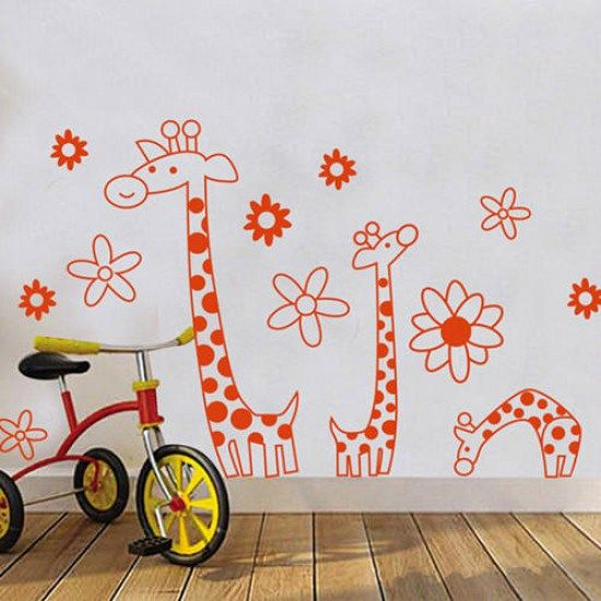 cartoon giraffe wall sticker nursery kindergarten playroom giraffe wall sticker contemporary wall stickers