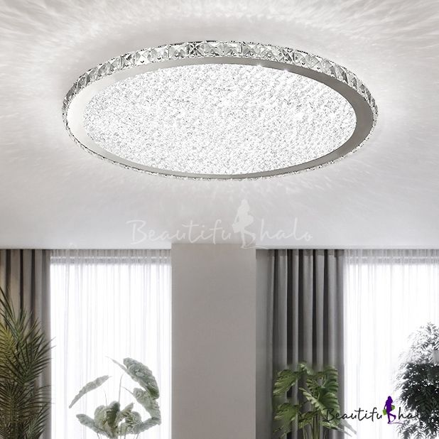 Crystal Round Led Flush Mount Luxury Modern Flush Ceiling Light In Warm White For Restaurant Modern Ceiling Light Ceiling Lights Flush Mount Ceiling Lights Hallways
