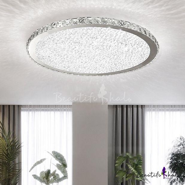 Crystal Round Led Flush Mount Luxury Modern Flush Ceiling Light In