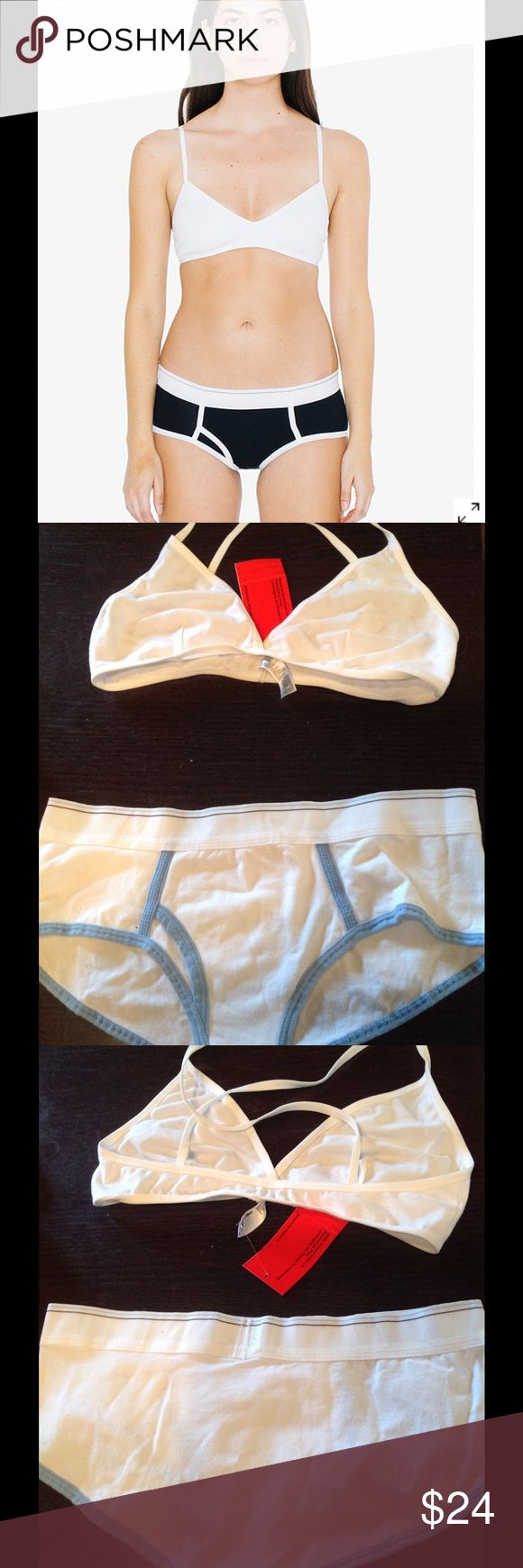 AA jersey cross back bra/ boy brief set💗💙 New tagged $27 value set is BLUE with white as shown , not black😉 American Apparel Intimates & Sleepwear Bras
