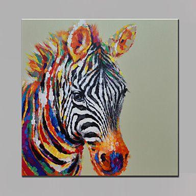 Pintada a mano Animal Cuadrado,Modern Un Panel Lienzos Pintura al óleo pintada a colgar For Decoración hogareña 4666531 2017 – $133.411