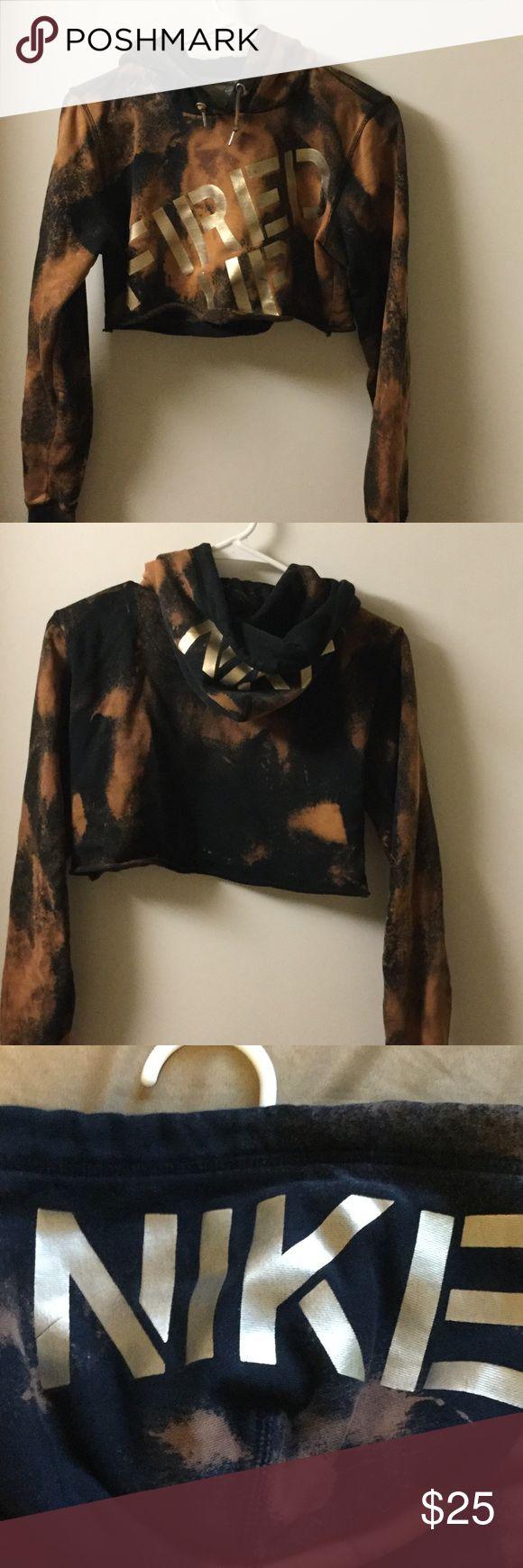 Nike custom crop top hoodie I cut and bleached this hoodie myself. Nike and a size medium Nike Sweaters Crew & Scoop Necks